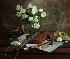 Still life with violin and flowers - null