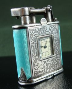 ART-DECO STERLING SILVER - GUILLOCHE PETROLEUM LIGHTER WITH WATCH