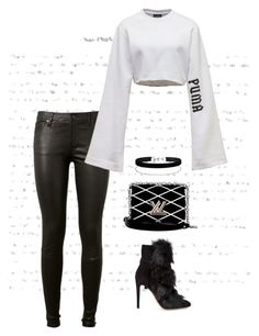 """""""Untitled #959"""" by marjanne-mestilainen ❤ liked on Polyvore featuring AG Adriano Goldschmied, Puma, Gianvito Rossi, Louis Vuitton and Miss Selfridge"""