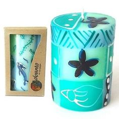 Single Boxed Hand-Painted Pillar Candle - Samaki Design Handmade and Fair Trade – buybricabrac