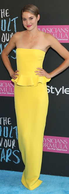 Shailene Woodley in Ralph Lauren Collection at the New York The Fault in Our Stars premiere.