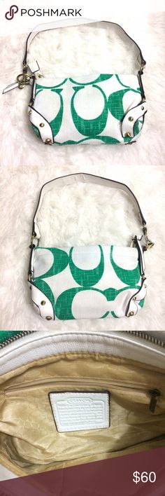 "Coach Green Signature small purse Perfect little bag for Spring! Beautiful white and Green with gold hardware. Inside is clean .   Please note that it is used and shows signs of wear on the handle.  Zipper does not close properly, but could be fixed.   Approx 10x7 with approx 23"" strap Coach Bags Shoulder Bags"