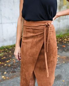 Cultured Suede Wrap Skirt - Camel