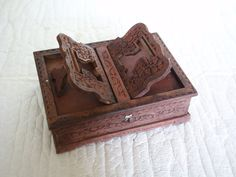 REHAL Quran holder BOOK reading STAND storage box, Intricate design, handmade wooden carving vintage wood. Islamic holy Qur'an Koran rihal by cabinetocurios on Etsy https://www.etsy.com/listing/237368808/rehal-quran-holder-book-reading-stand