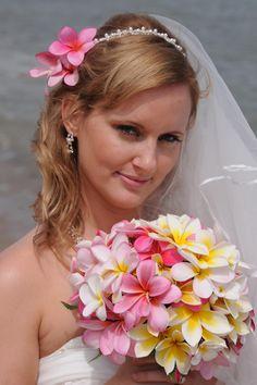 hawaiian flower wedding dress   PLUMERIA BOUQUETS by Bridal Dream Hawaii