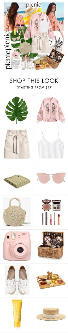"""""""Picnic in the Park"""" by hoahoa210 ❤ liked on Polyvore featuring Tiffany & Co., H&M, MANGO, So.Ya, Clare V., Charlotte Tilbury, Fujifilm, Picnic Time, Picnic at Ascot and Clinique"""