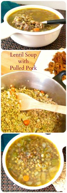 Lower Excess Fat Rooster Recipes That Basically Prime Lentil Soup With Pulled Pork - Use Already Seasoned Cooked Pork To Add Flavor To A Simple Lentil Soup. Extraordinary Way To Make A Week Of Lunches From Leftovers Best Soup Recipes, Lentil Recipes, Healthy Soup Recipes, Chili Recipes, Pork Recipes, Real Food Recipes, Cooking Recipes, Favorite Recipes, Cooking