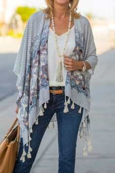 fashion for women over 60 outfits pants fashion over 40 Boho Fashion Over 40, 60 Fashion, Fashion For Women Over 40, Kimono Fashion, Plus Size Fashion, Fashion Trends, Fringe Fashion, Plus Size Boho Clothing, Moda Boho