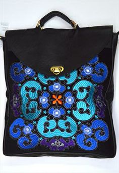 Handmade Ethnic leather bag with embroidery