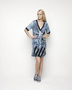House Of Cannon - Launching Los Angeles - SS17/18 V Neck Sleeved Midi Dress in Air Traffic Control print