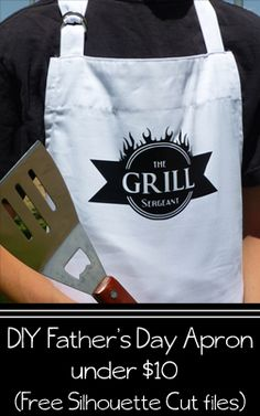 Father's Day Apron DIY Under $10! {Free Silhouette File} Quick Simple Father's Day gift with 3 different versions of the cut file - Big Ideas Little Cents