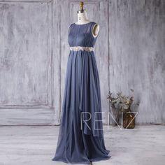 2017 Steel Blue Chiffon Bridesmaid Dress, Scoop Neck Wedding Dress with Lace Belt, Illusion Prom Dress Empire Waist Floor Length (H236)