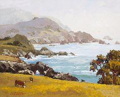 """Big Sur in Muted Tones""  by Erin Dertner  Original Oil ~ 20 x 24 #seascape #farmanimals #cows"
