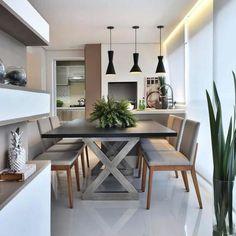 Varanda gourmet super convidativa {} Inspiração via @decoramundo Fiquei apaixonada pelo pé dessa mesa! Lindo! { Projeto Tetriz Arquitetura }
