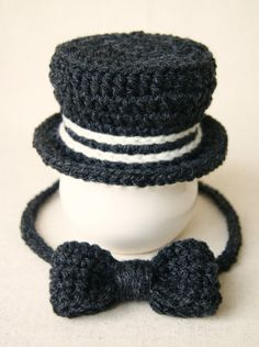 Newborn Top Hat and Bow Tie Hand Crocheted Photo Prop Baby Boy Knitting be4f6f9e6f8c