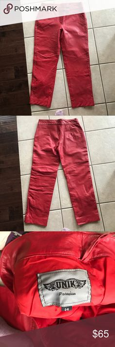 Red leather pants UNIK BRAND Excellent condition. Like new. Studded Unik Pants