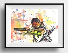 Walking Dead Daryl Dixon Poster Print From Original Watercolor Painting - 8 X 10 in. Print The Walking Dead Poster Print by idillard on Etsy https://www.etsy.com/listing/233160961/walking-dead-daryl-dixon-poster-print
