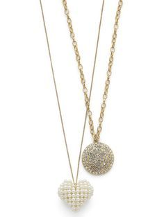 """Cookie Lee MEDALLION AND PEARL HEART NECKLACES SET     3-in-1! Wear together or individually.     30-33"""" adjustable (Pearl Heart)     30-33"""" adjustable (Medallion)     Genuine crystal.     Set of 2. Item #: 11832 Price: $36.00 Great idea..one for the wedding & one for the honeymoon! www.cookielee.biz/"""