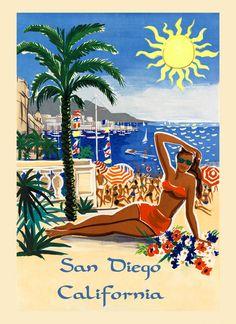 California San Diego Lady Beach Ocean American US Travel San Diego Beach, Vintage California, Advertising Poster, Ads, Woman Beach, Travel And Tourism, All Poster, Beach Trip, Vintage Travel
