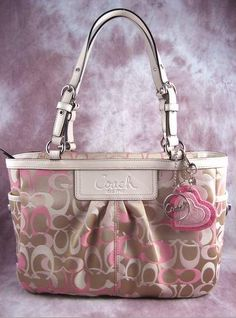 Coach Optic Signature Pleaded Tote Pale Pink Brown - my purse