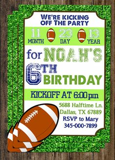 Printable Football Birthday Party Invitation Personalized with Your Party Information on Etsy, $4.97