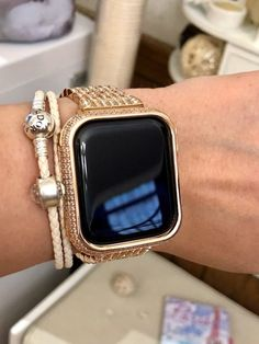 Apple watch case bezels covers, bumper protection for women and men. Fit series 5 4 3 2 44 mm Available in colors rose gold, gold, silver, space grey & black. Elegant Watches, Beautiful Watches, Cool Watches, Watches For Men, Popular Watches, Men's Watches, Luxury Watches, Pink Apple Watch Band, Apple Watch Fashion