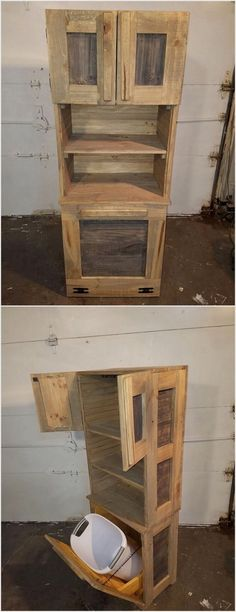 Having a waste bin in your house is quite a useless option but it do comprise of so many uses. To design a waste bin you should make the use of wood pallet. For a proper creation of the waste bin set, you can even add it with the cabinets in the upper side portion that would make it a complete furniture set.