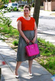 Gingham; topshop; kate spade pink bag; white pumps