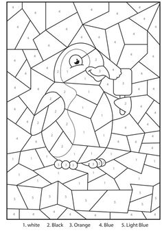 Werkblad rekenen: Printable Penguin At The Zoo Colour By Numbers Activity For Kids: