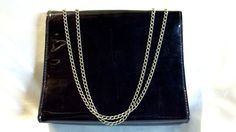 Cute fashion accessory! Handy for phone, wallet, cosmetics, and more! RARE VINTAGE 80s BLACK VINYL HANDBAG CHAIN HANDLES PVC PATENT GOTH PUNK PURSE UK BRITISH STYLE - on eBay! $2.98
