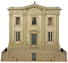 A REGENCY OCHRE-PAINTED SIX-ROOM DOLLS HOUSE. EARLY 19TH CENTURY. Modelled as a villa with pilasters and balustraded double staircase, the interior with a large collection of later Dolls House miniature furniture. 45½ in. (66.5 cm.) high; 72 in. (182.8 cm.) wide; 32 in. (81 cm.) deep.