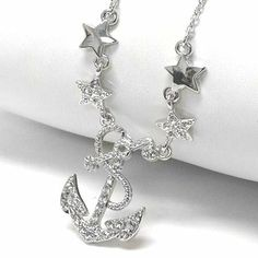 """Sailing Under the Stars - Anchor Necklace Adjustable from 16"""" to 18"""" Necklace Silver Insanity. $15.94. Adjustable from 16.5"""" to 18.5"""" Chain Included. Pendant is 3/4"""" High and 5/8"""" Wide. Crafted of a Silver Tone Base Metal (Nickel and Lead Free). Set with Sparkling White Crystals"""