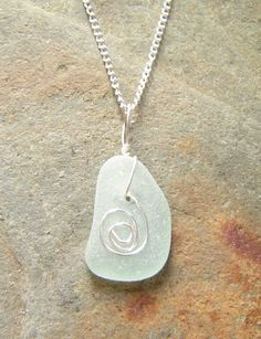 Sea Glass Necklace Wire Wrapped Necklace by NorthumbriaGems