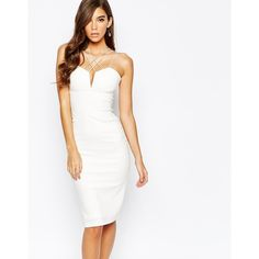 Rare London Mutli Strap Plunge Midi Dress ($76) ❤ liked on Polyvore featuring dresses, white, tall dresses, bodycon dress, mid calf dresses, sweetheart cocktail dress and white dress