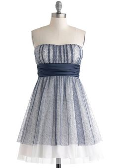 A New Twilight Dress - Blue, White, Bows, Prom, Fit & Flare, Strapless, Sweetheart, Vintage Inspired, 50s, Mid-length