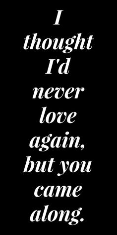 I thought I'd never love again, but you came along.