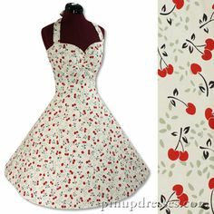 New Retro Cherries 50s Vintage Style Pinup Halter Dress