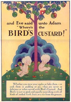 Birds Custard, Adam and Eve Vintage Advertisements, Vintage Ads, Vintage Food, Vintage Items, Bird's Custard, Tea Biscuits, Adam And Eve, Baked Apples, Old Ads