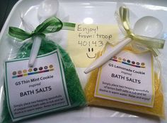 Girl Scouts of Kansas Heartland Troop 40143 shares their recipe for Girl Scout Cookie-inspired bath salts! http://kansasgirlscouts.org/2014/09/troop-40143-shares-journey-project-idea/