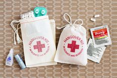 Hangover Kit Bags - Bachelorette Party Favor - Wedding Favor Bags - READY TO SHIP