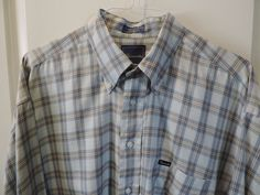 Faconnable Designer Classic Light Blue Plaid 100% Cotton Casual Shirt 2XL Mint #Faconnable #ButtonFront