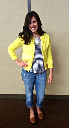 Real Mom Style: Yellow Cardigan & Stripes - momma in flip flops
