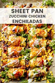 Zucchini Chicken Enchiladas made in a sheet pan and zucchini instead of tortillas. Zucchini Chicken Enchiladas made in a sheet pan and zucchini instead of tortillas. Healthy Chicken Recipes, Mexican Food Recipes, Healthy Dinner Recipes, Vegetarian Recipes, Cooking Recipes, Zucchini Dinner Recipes, Kid Recipes Dinner, Healthy Mexican Food, Light Chicken Recipes