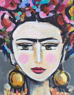 Frida Kahlo imprimir rosas bonita retrato por DevinePaintings