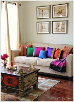 Guledgudda Khana or Khun fabric (Blouse pieces) used to make colorful cushions, festive decor ideas, Diwali decor ideas