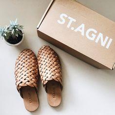 photo by @closetvomitfashion St. Agni leather slides mules shoes summer sandals succulent plant footwear cute
