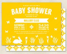 Spring Baby Shower Invitation // Classic Easter Theme with Simple Silhouette of Bunny in Blooming Garden.  Printable Invite Available in White & Yellow . . . or Any Color.