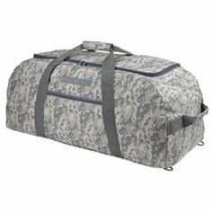 Onlinesuperstoreplus.com Duffle Bags are the Finest for Gym, School, Travel, Luggage and Sporting Uses. Try any of our bags for overnight camping, flights, and more! MATERIAL: 600D Polyester w/ Vinyl Backing. SIZE: 31 X 15 X 15. IMPRINT AREA: 9 X 6 FEATURE: Large U-Shaped main zippered compartment, zippered front pocket, zippered bottom hidden backpack straps and two end handles. Becomes a backpack with straps, perfect for camping. COLORS: Gray Pixel.'