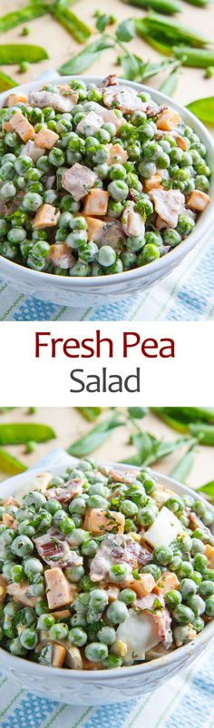 Fresh Pea Salad; I'll make it veg with veggie bacon and veg mayo and cheese. Everything can be adapted!