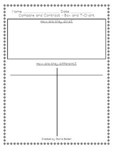 Here are four graphic organizers to be used when working on the skill of comparing and contrasting.* Box and T-Chart for two items* Box and T...